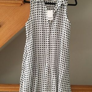 Dress buttons down linen blue polka dots